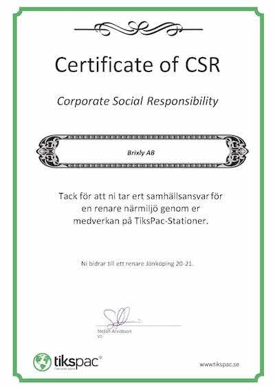 Tiks Pac CSR Certifikat Sverige